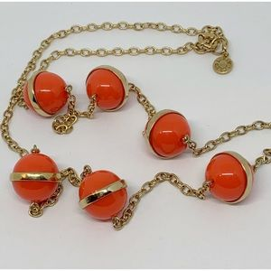 J. Crew Orange Balls Gold Necklace